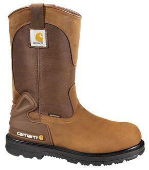 Carhartt Waterproof Wellington Pull-On Work Boots - Steel Toe, Bison, hi-res