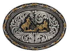Montana Silversmiths Classic Impressions Two-Tone Team Roper Attitude Belt Buckle, , hi-res