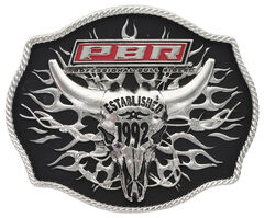PBR Established 1992 Tribal Flames Buckle, Black, hi-res