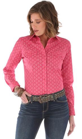 Wrangler Women's Long Sleeve Tonal Print 2 Pocket Shirt, Pink, hi-res