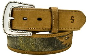 Stetson Eagle Overlay Distressed Leather Belt, Tan, hi-res