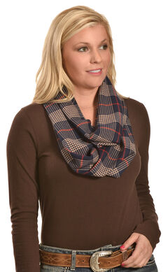 Rapti Fashion Women's Cashmere Navy and Tan Plaid Infinity Scarf , , hi-res
