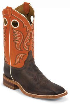 Justin Burnished Orange Cowboy Boots - Square Toe, , hi-res