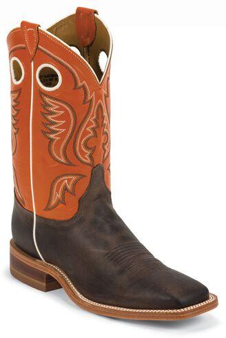 Justin Burnished Orange Cowboy Boots - Square Toe | Sheplers