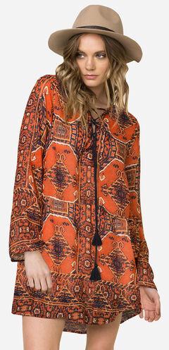 Miss Me Women's Rust Long Sleeve Printed Tie-Front Swing Dress , , hi-res