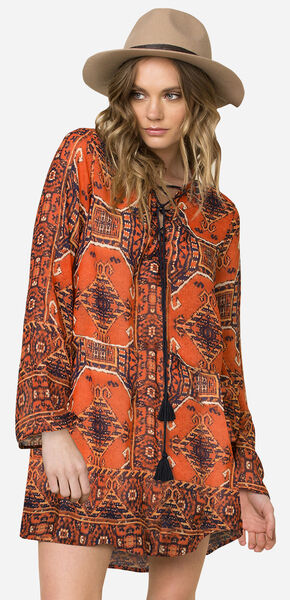 Miss Me Women's Rust Long Sleeve Printed Tie-Front Swing Dress , Rust, hi-res