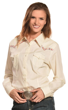 Wrangler Women's Natural Premium Patch Fashion Western Shirt  , , hi-res