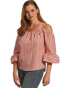 Polagram Women's Red Cold Shoulder Stripe Top , , hi-res