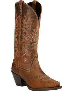 Ariat Round Up Maddox Cowgirl Boots - Snip Toe , Distressed, hi-res