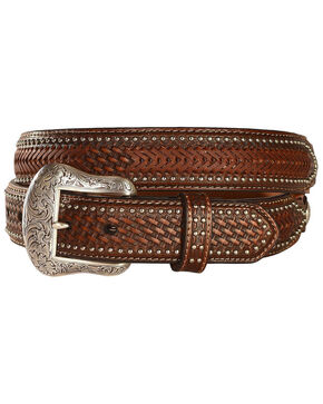 Nocona Ostrich Print Basketweave Billets Leather Belt, Brown, hi-res