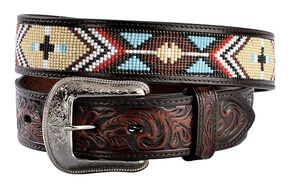 3D Aztec Beaded Western Belt, Multi, hi-res