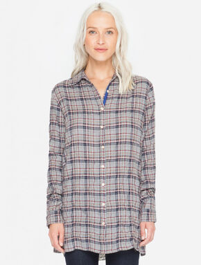 3J Workshop Women's Plaid Altivo Scarf Back Shirt , Multi, hi-res