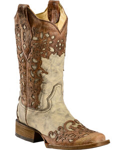 Corral Floral Laser Cutout Cowgirl Boots - Square Toe, , hi-res