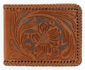 Nocona Floral Tooled Leather Laced Bi-Fold Wallet, Tan, hi-res