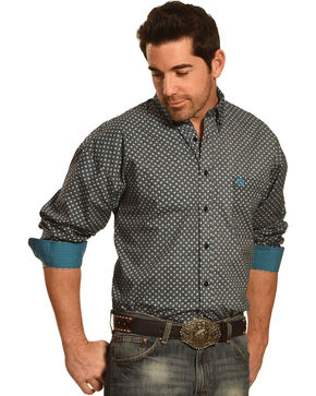 Panhandle Slim Men's Black and Turquoise Print Western Shirt , Turquoise, hi-res