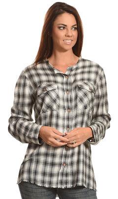New Direction Sport Women's Plaid Split Back Western Shirt, , hi-res