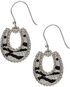 Montana Silversmiths Zebra Horseshoe Earrings, , hi-res