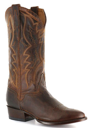El Dorado Distressed Goat Cowboy Boots - Round Toe, Brown, hi-res