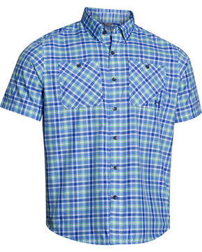 Under Armour Men's Chesapeake Patterned Short Sleeve Shirt, Blue, hi-res