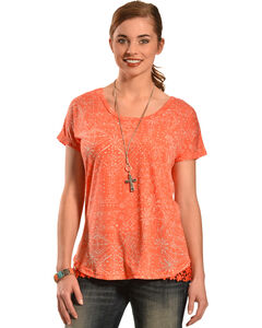 New Direction Sport Women's Orange Lace Top , , hi-res