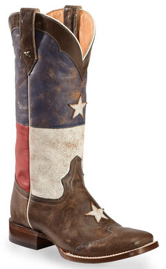 Roper Distressed Texas Flag Cowgirl Boots - Square Toe, , hi-res