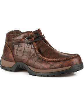 Roper Men's Brown American Gator Print Casual Shoes , Brown, hi-res