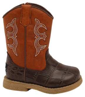 Double Barrel Toddler Boys' Lil' Bronc Boots - Square Toe, Brown, hi-res