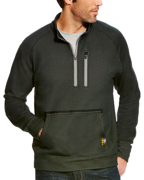 Ariat Men's Rebar 1/4 Zip Pullover - Big, Black, hi-res