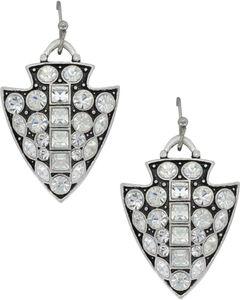Montana Silversmiths Women's Silver Antiqued Glam Arrowhead Earrings , Silver, hi-res