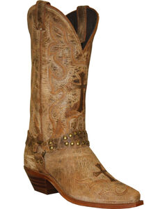 Abilene Distressed Tan Cross Cowgirl Boots - Round Toe , , hi-res