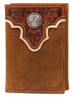 Ariat Tooled Overlay & Concho Tri-fold Wallet, , hi-res