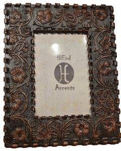 """HiEnd Accents Floral Tooled Faux Laced Photo Frame - 8"""" x 10"""", Multi, hi-res"""