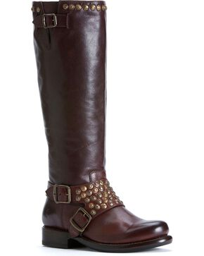 Frye Women's Jenna Studded Riding Boots - Round Toe, Dark Brown, hi-res