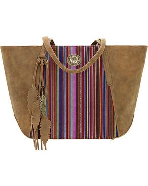 American West Bandana Women's Serape Zip Top Tote , Brown, hi-res