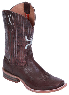 Hooey by Twisted X Pinstripe Cowboy Boots - Square Toe, Chocolate, hi-res