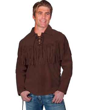 Scully Fringed Boar Suede Leather Shirt, Chocolate, hi-res