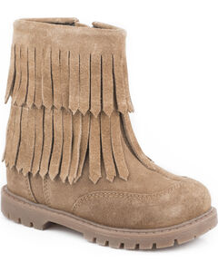 Roper Girls' Tan Fashion Fringe Moccasin Boots - Round Toe, , hi-res
