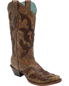 Corral Women's Brown Patch Tall Cowgirl Boots - Snip Toe, , hi-res