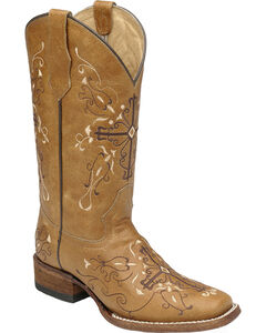 Circle G Women's Embroidered Cross Western Boots - Square Toe, , hi-res
