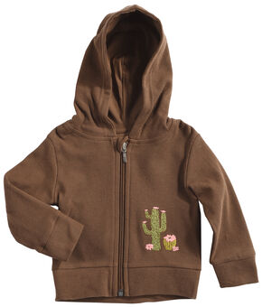 Wrangler Toddler Girls' Brown Cactus Embroidered Hoodie , Brown, hi-res