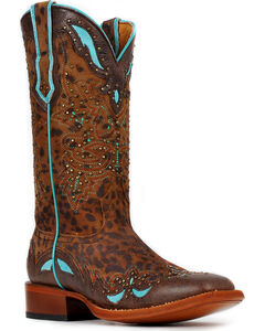 Cinch® Women's Cheetah & Turquoise Leather Inlay Cowgirl Boots - Square Toe, , hi-res