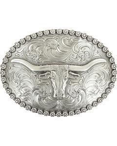 Nocona Genuine Silver Plated Steer head oval buckle, Silver, hi-res
