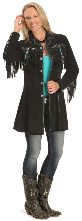 Scully Beaded Fringe Coat, Black, hi-res
