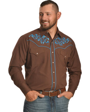 Ely Cattleman Men's Brown Scroll Embroidery Snap Shirt , Brown, hi-res
