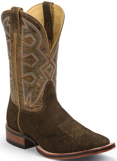 Nocona Brown Hippo Print Let's Rodeo Cowboy Boots - Square Toe , , hi-res