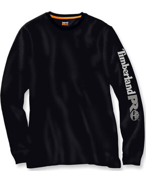 Timberland PRO Men's Black Base Plate Wicking Logo Long Sleeve T-Shirt, Black, hi-res