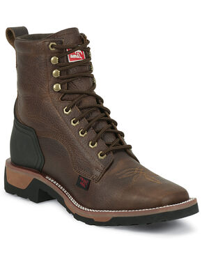 "Tony Lama TLX 7"" Lace-Up Work Boots - Square Toe, Bark, hi-res"