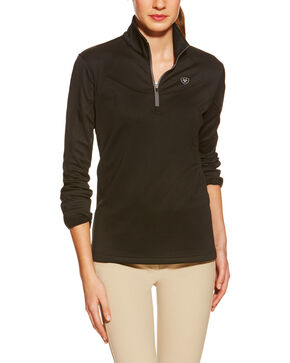 Ariat Women's Conquest Tek Fleece English Riding Quarter-Zip Jacket, Black, hi-res