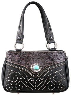 Montana West Trinity Ranch Black Tooled Design Handbag, , hi-res