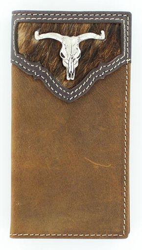 Nocona Kids' Hair-On-Hide Steer Skull Concho Rodeo Wallet, Brown, hi-res